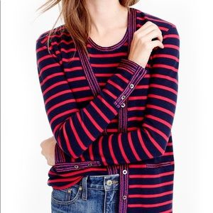 J. Crew Metallic Trim Striped Cardigan Sweater XL